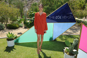 Louise Roe donned a terracotta tunic dress by Rachel Zoe for the ZOEasis event.