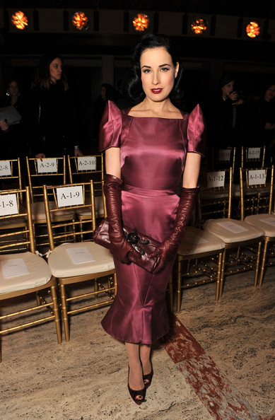Dita+Von+Teese in Zac Posen - Front Row - Fall 2012 Mercedes-Benz Fashion Week