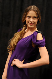 Petra Nemcova attended the Zang Toi fall 2012 fashion show wearing her hair in a wrapped side ponytail.