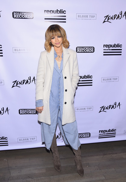 Zendaya Coleman Over the Knee Boots [something new,clothing,fashion,outerwear,blazer,suit,pantsuit,formal wear,fashion design,event,premiere,zendaya,actress,new york city,black tap,fan event,fan event]