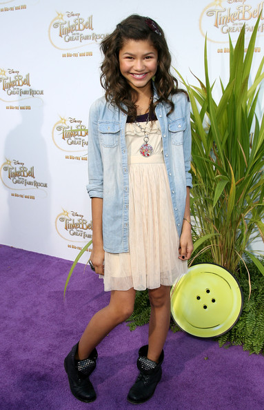 Zendaya Coleman Studded Boots [tinker bell and the great fairy rescue,flooring,fashion model,fashion,child model,carpet,denim,girl,shoe,long hair,child,zendaya coleman,beverly hills,california,disney,screening,screening,zendaya,shake it up,fashion,actor,clothing,singer,tinker bell,the walt disney company]