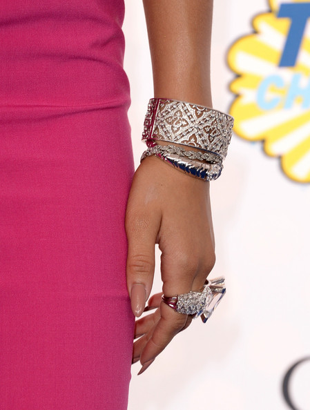 Zendaya Coleman Cuff Bracelet [bracelet,fashion accessory,jewellery,arm,dress,wrist,finger,bangle,footwear,hand,singer zendaya,arrivals,teen choice awards,fashion detail,california,los angeles,the shrine auditorium,fox]