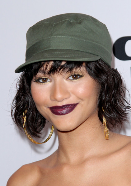 Zendaya Coleman Military Cap [red carpet,hair,hat,clothing,lip,fashion accessory,hairstyle,beauty,chin,fedora,sun hat,zendaya,hip-hop awards,r b,california,hollywood,pantages theatre,bmi]