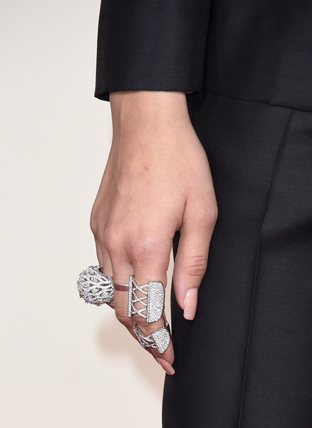 Zendaya Coleman Statement Ring [finger,hand,arm,wrist,ring,fashion accessory,jewellery,bangle,gesture,silver,arrivals,zendaya,grammy awards,jewelry detail,california,los angeles,staples center,58th grammy awards]