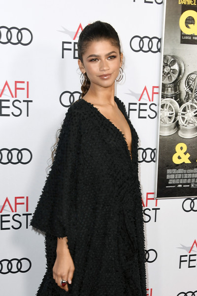 Zendaya Coleman Statement Ring [hair,clothing,shoulder,dress,hairstyle,little black dress,fashion model,joint,premiere,carpet,arrivals,zendaya,tcl chinese theatre,california,hollywood,audi,afi fest,queen slim,premiere]