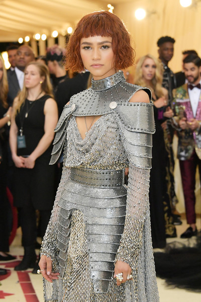 Zendaya Coleman Statement Ring [heavenly bodies: fashion the catholic imagination costume institute gala - arrivals,hair,clothing,hairstyle,fashion,red carpet,carpet,dress,flooring,fashion model,event,new york city,metropolitan museum of art,zendaya]