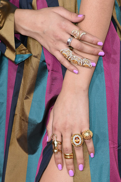 Zendaya Coleman Statement Ring [nail,hand,purple,bangle,jewellery,bracelet,finger,wrist,nail care,fashion accessory,arrivals,zendaya,actress,grammy awards,fashion detail,california,los angeles,staples center,the 57th annual grammy awards]