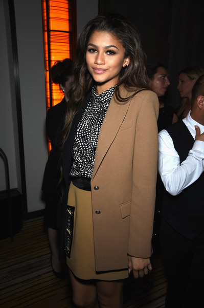 Zendaya Coleman Skirt Suit [suit,clothing,fashion,formal wear,outerwear,blazer,tuxedo,fashion design,event,pantsuit,michael kors,zendaya,itunes,mark hotel,new york city]
