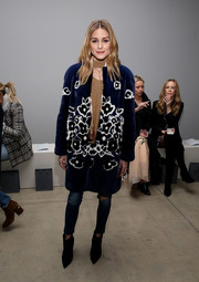 Olivia Palermo was sweet and glam in floral fur coat by Carolina Herrera at the Zimmermann fashion show.
