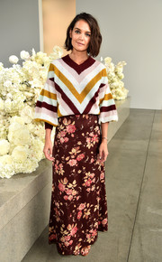 Katie Holmes donned a cute chevron sweater with blouson sleeves for the Zimmermann Spring 2019 show.