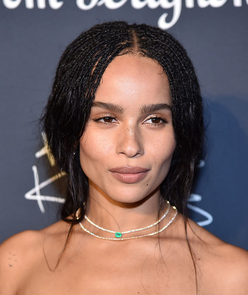 Zoë Kravitz Layered Diamond Necklace [hair,face,hairstyle,eyebrow,black hair,chin,forehead,lip,long hair,lace wig,dom p\u00e9rignon,dom p,kravitz,zo,rignon,skylight modern,new york city,lenny kravitz: assemblage exhibition]