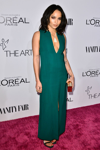 Zoe Kravitz Evening Dress [flooring,fashion model,formal wear,shoulder,dress,carpet,gown,fashion,cocktail dress,long hair,zoe kravitz,lounge,california,los angeles,sadie kitchen,vanity fair,campaign hollywood kicks off with dj night sponsored,loreal paris,vanity fair campaign hollywood kick off]
