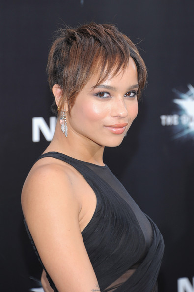 Zoe Kravitz Layered Razor Cut [the dark knight rises,hair,hairstyle,face,chin,beauty,eyebrow,blond,brown hair,layered hair,shoulder,zoe kravitz,inside arrivals,new york,amc lincoln square theater,premiere]