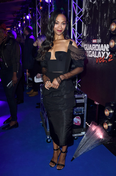 Zoe Saldana Corset Top [guardians of the galaxy vol. 2,flooring,fashion,dress,fashion model,carpet,little black dress,event,music artist,girl,midnight,celebrities,guests,european,eventim apollo,england,london,marvel studios,launch event,gala screening]