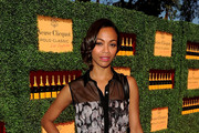 Zoe Saldana's Bobby Pinned Updo at the Veuve Clicquot Polo Classic