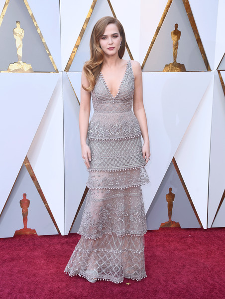 Zoey Deutch Beaded Dress [gown,dress,flooring,beauty,carpet,fashion,lady,fashion model,girl,haute couture,arrivals,zoey deutch,academy awards,hollywood highland center,california,90th annual academy awards]