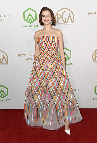 Zoey Deutch Pumps [fashion model,clothing,dress,red carpet,carpet,fashion,hairstyle,shoulder,premiere,strapless dress,arrivals,zoey deutch,hollywood palladium,los angeles,california,annual producers guild awards,zoey deutch,hollywood palladium,producers guild of america award,red carpet,screen actors guild awards,film producer,academy awards,producers guild of america,celebrity]