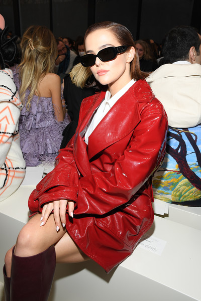 Zoey Deutch Bright Nail Polish [eyewear,clothing,red,fashion,sunglasses,leg,leather jacket,leather,glasses,thigh,valentino,zoey deutch,front row,part,paris,france,paris fashion week womenswear fall,show,sunglasses,fashion,fashion show,supermodel,glasses,runway,haute couture,model,textile,yes]