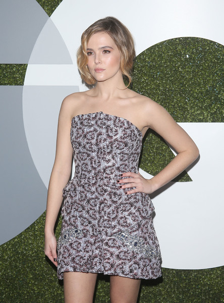 Zoey Deutch Dark Nail Polish [clothing,dress,cocktail dress,strapless dress,fashion,shoulder,blond,long hair,premiere,leg,arrivals,zoey deutch,gq men of the year party,california,los angeles,chateau marmont,gq men of the year party]