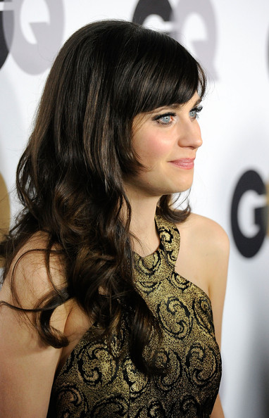 Zooey Deschanel Long Wavy Cut with Bangs