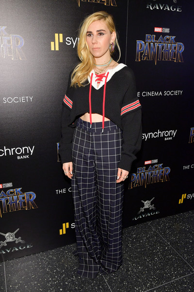 Zosia Mamet Crop Top [black panther,clothing,premiere,fashion,tartan,carpet,dress,pattern,fashion accessory,talent show,flooring,zosia mamet,screening,new york city,cinema society hosts a screening of marvel studios,the cinema society]