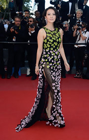 Zhang Ziyi had fun on the red carpet when she wore this green and pink floral applique dress.