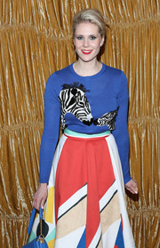 Kate Nash wore a fun zebra print cardigan for the Alice + Olivia NYFW show, also by Alice + Olivia.
