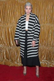 Sofia Richie chose a bold monochrome striped jacket for the Alice + Olivia NYFW show.