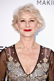 Helen Mirren styled her short hair into a curled-out bob for the amfAR Cinema Against AIDS Gala.