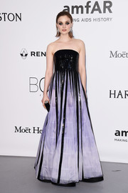 Bella Heathcote was edgy-glam in a lavender and black strapless gown by Armani Privé at the amfAR Cinema Against AIDS Gala.