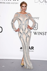 Paris Hilton looked fab in a Yousef Al-Jasmi beaded column dress during the amfAR Cinema Against AIDS Gala.