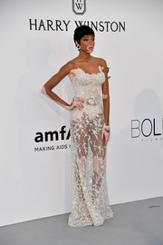 Getting the sheer memo, Winnie Harlow chose this slinky Ashi Studio Couture bustier gown for the amfAR Gala Cannes 2017.