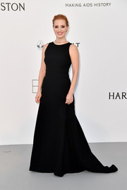 Jessica Chastain went for simple elegance in a sleeveless black Prada gown at the amfAR Gala Cannes 2017.