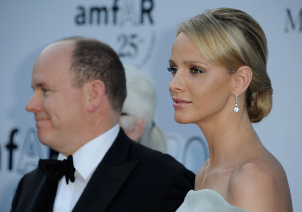 Charlene Wittstock wore a shimmering pair of large diamond drop earrings while attending the 64th Annual Cannes Film Festival.
