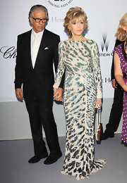 Jane Fonda is simply age defying in a sequined evening gown with a tiger print.
