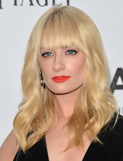 Coral lips were an excellent choice for complementing Beth's fair complexion and blonde tresses.