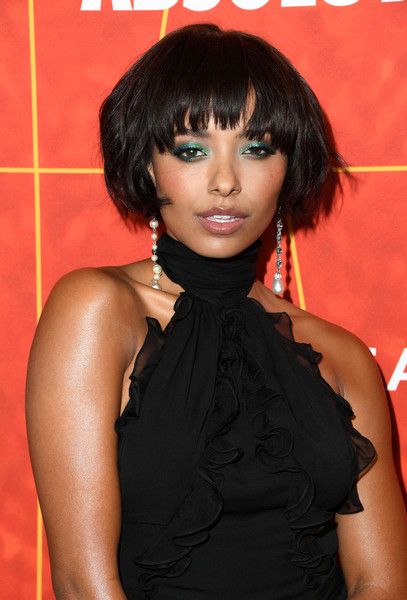 Kat Graham wore her hair in a bob with rounded bangs at the amfAR Gala Los Angeles 2018.