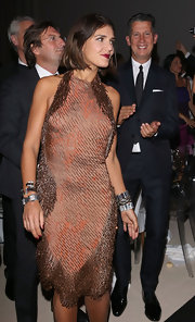 Margherita Missoni looked super elegant at the 2012 amfAR Milano dinner in a heavily beaded brown halter dress.