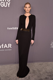 Elsa Hosk looked seductive in a black keyhole-cutout gown by Gucci at the 2019 amfAR New York Gala.