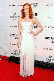 Karen was heavenly in a white iridescent fringed evening dress at the amfAR Fashion Week kick-off.