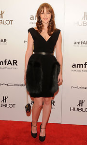 Leighton Meester accessorized her cocktail dress with black platform Mary Jane pumps.