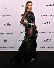 Wowza. Alina Baikova left little to the imagination in this ruffled gown with sheer mesh panels.