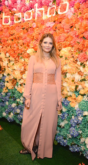 Mischa Barton attended the boohoo.com LA pop-up store opening wearing an antique-rose maxi dress with a lace midsection.