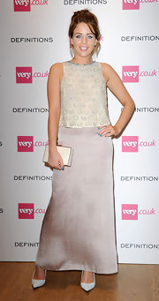 Lydia Rose Bright paired a beaded gray blouse with a long skirt for the Very.co.uk launch party.