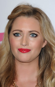 Hayley McQueen wore metallic gold eyeshadow for a bit of shine to her beauty look during the Very.co.uk launch party.
