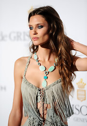 Bianca Balti wore a statement turquoise and diamond de Grisogono drop necklace at the jeweler's dinner at Cannes.