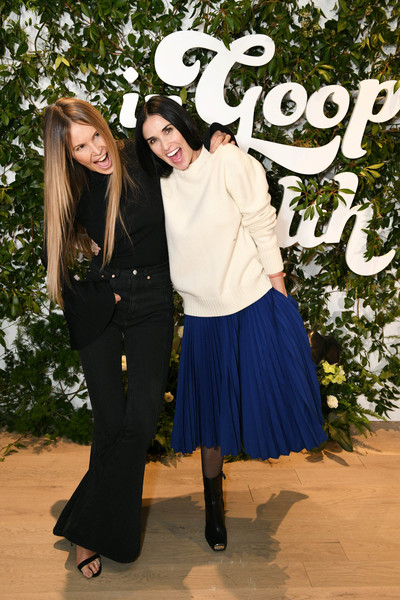 More Pics of Elle MacPherson Fitted Blouse (3 of 3) - Elle MacPherson Lookbook - StyleBistro [clothing,blue,fashion,fun,friendship,outerwear,footwear,costume,photography,headgear,health summit,in goop health summit,l,new york,seaport district nyc,elle macpherson,demi moore]