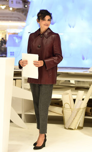 Audrey Tautou bundled up in style in a retro-chic purple leather jacket for the Galeries Lafayette Christmas decorations inauguration.