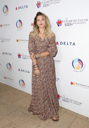 Paris Jackson was a bohemian beauty in an off-the-shoulder floral maxi dress by Zac Posen at the mothers2mothers and Elizabeth Taylor AIDS Foundation benefit dinner.