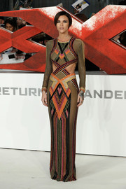 Ruby Rose looked bold and sophisticated at the European premiere of 'xXx: Return of Xander Cage' in a geometric-patterned Balmain lurex gown with waist cutouts.
